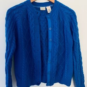 LL BEAN GIRLS BLUE CABLE CARDIGAN Sz.LG (14-16)